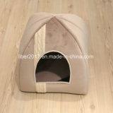 Base moderna confortável do animal de estimação da casa do cão e do gato da base do animal de estimação do poliéster da base bege da casa do gato da gaiola da base do animal de estimação