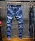 Toda a venda Pedra Slim Fit lavar os homens de cintura elevada Cor da calça jeans Denim