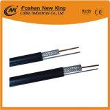 PVC neuf de câble coaxial de liaison de l'usine RG6 de la Chine avec le messager en acier pour le système satellitaire de la télévision en circuit fermé CATV
