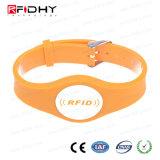 Wristband alaranjado da forma RFID do relógio para a gerência da atividade