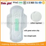 Салфетка популярного иона санитарных пусковых площадок отрицательного санитарная с зеленым Adl