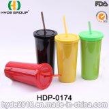 Bunte 20oz BPA geben Plastikwasser-Trommel mit Stroh frei