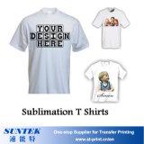 La coutume badine la vente en gros blanc de T-shirt de sublimation d'hommes de femmes