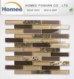 el azulejo de mosaico de 23X98 Brown adorna el mosaico del bloque de cristal del cuarto de baño de la tira