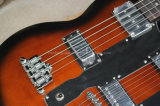 Musique de Hanhai/guitare électrique double collet Sunburst de tabac (6+4 chaînes de caractères)