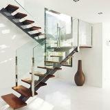 Горячая продажа прямо из нержавеющей стали лестница с цельной древесины шаги