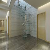 Escalier spiralé d'intérieur en bois solide avec la balustrade de Rod d'acier du carbone