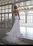Vestido de casamento M2016 da sereia do laço de Vestidos Beade do vestido nupcial do Spandex