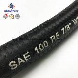 Boyau hydraulique en caoutchouc de couverture tressé par fibre