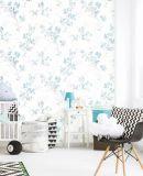 2018 Nuevo diseño y moderno, no tejida de COLOR AZUL DE PAPEL flores de papel de pared para Hotel / restaurante, libre de formaldehído, la resistencia al formaldehído