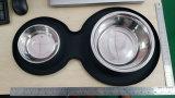 FDA de Kom van de Hond van het Silicone van de Rang met de Dubbele het Voeden van het Roestvrij staal Larg Kom van het Huisdier