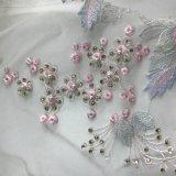 El cordón con 3D florece los cristales brillantes grandes Swarovski y las perlas en el estilo de Elie Saab