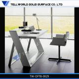 По современному изогнутые Office Desk акриловый твердой поверхности современный письменный стол Генерального директора в таблице