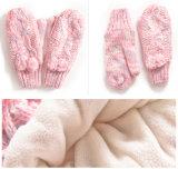 Do chapéu unisex do Beanie da torção POM POM do cabo do inverno das senhoras 3PC das meninas dos miúdos das crianças das mulheres lenço longo da tampa da aleta das luvas ajustado (SK123S)