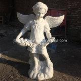 돌 백색 대리석 작은 천사 동상