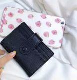 Черный цвет моды Леди Кожаное портмоне