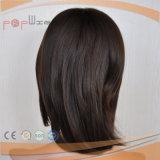 Negro suave de silicona de Remy peluca de pelo humano (PPG-L-0834)