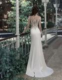 Lange Hülsen-Brautkleid-Strand-Garten-Hochzeits-Kleider W14822