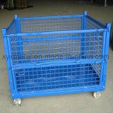 Contenitore pieghevole & accatastabile del pallet della maglia del filo di acciaio per memoria del magazzino