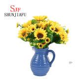 Vaso di fiore di ceramica blu di stile dell'annata/supporto decorativo del mazzo