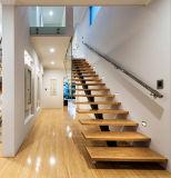 Escalera de Stairght de madera sólida de la nuez con el pasamano de cristal inoxidable del tubo de acero