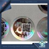 Étiquette faite sur commande d'hologramme d'impression de Silkscreen avec le code barres