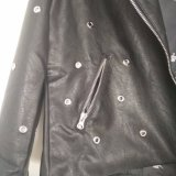Women′ 자수와 리베트에 의하여 길쌈되는 재킷을%s 가진 S 100%PU
