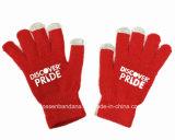 L'abitudine dei prodotti della fabbrica della Cina ha stampato i guanti magici lavorati a maglia rossi di tocco dello schermo