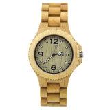2018 Relojes de Pulsera de madera cuero hombres OEM Logo personalizado de venta al por mayor reloj de madera de bambú