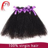 ねじれたカールは毛の織り方で100%年のバージンのRemyの人間の毛髪のバージンのインドの巻き毛を縫う