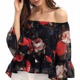 Мода женщин цветочный шифон off плечо вспышки блуза втулки