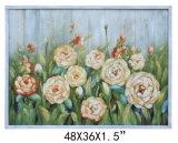 Handpainted Planked Arte Decorativa de flores de madeira (Item#811701103)
