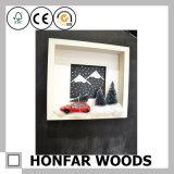 Frame de retrato de madeira da caixa de sombra da cor branca do presente do Natal