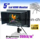 """5 """" video del campo HD dell'affissione a cristalli liquidi con le funzioni avanzate per la macchina fotografica di Canon DSLR 5dii con il piatto della batteria Lp-E6"""