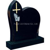十字が付いているインドの黒い花こう岩のばらの彫刻の墓石