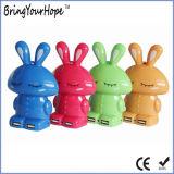 Прелестная кролик форма портативный источник питания банка оснащена зарядным устройством (XH-PB-017)