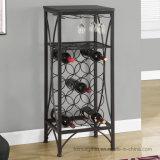 Crémaillère de bouteille de vin d'étalage d'étage en métal avec la mémoire en verre
