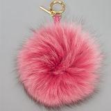 ファッション小物のキツネの毛皮のポンポンのWatermenlonの赤