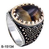 2017 nuovi modelli 925 anelli d'argento degli uomini con la pietra naturale