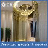 Cassa dorata di progetto della parete divisoria di stile moderno di Custmized per l'hotel di Shunde