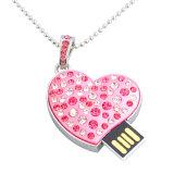 Pingente de coração de 8 GB de memória USB Pen Drive Diamond