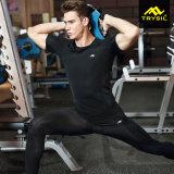 Dessus actifs de gymnastique de chemise de circuit de chemise de compactage d'hommes