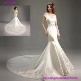 Hochzeits-Kleid-Brautkleid-Weinlese-Spitze-Hochzeits-Kleid-Spitze-geöffnetes zurück Hochzeits-Kleid
