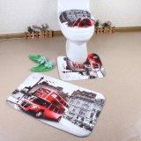 Lavable cómodo no deslizamiento baño y baño personalizado impreso 3 piezas de baño conjunto de alfombrilla