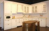 Mobília do gabinete de cozinha da madeira contínua de Poplar branco do estilo de Ritz Europa