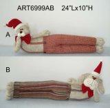 Taquet -2asst. de porte de décoration de Noël de chat et de crabot de pays de vacances