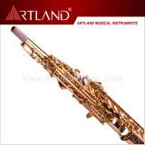 Sassofono professionale del soprano di rivestimento dorato chiave della lacca di Bb (ASS4506)