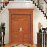 Antique Wooden Carved Double Front Entry Exterior Door (GSP1-026)