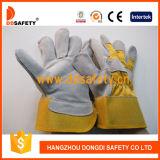 Ddsafety 2017の牛のそぎ皮作業手袋の黄色い綿のドリルの安全手袋