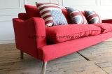 빨간색 직물 거실 가구 현대 직물은 유럽 직물 소파를 디자인한다